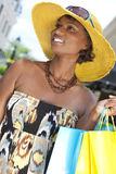 SAfrican American Woman With Fashion Shopping Bags Royalty Free Stock Photos