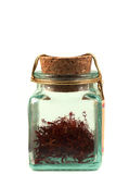 Safron in a glass jar Stock Photography