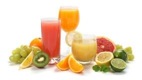 Saft und Früchte Lizenzfreies Stockfoto