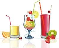 Saft und Früchte. stock abbildung