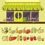 Saftbar und Satz bunte Lebensmittel- und Getränkfruchtikonen Stockbilder