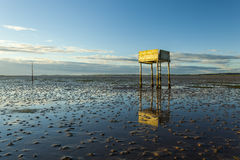 Saftey Platform on walkway to Lindisfarne Castle and  Holy Island. Stock Image