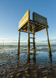 Saftey Platform on walkway to Lindisfarne Castle and  Holy Island. Royalty Free Stock Photos