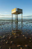 Saftey Platform on walkway to Lindisfarne Castle and  Holy Island. Stock Photography