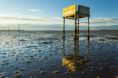Saftey Platform on walkway to Lindisfarne Castle and  Holy Island. Stock Photos