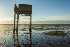 Saftey Platform on walkway to Lindisfarne Castle and  Holy Island. Stock Photo