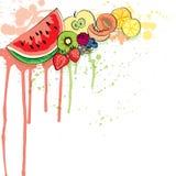 Saftig färgrik fruktvektorbakgrund, kan användas som baner stock illustrationer
