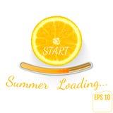 Saftig fruktcitron Sommarpäfyllningsstång, vit bakgrund vektor Royaltyfri Fotografi