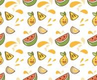 Saftig fruktkawaiibakgrund royaltyfri illustrationer