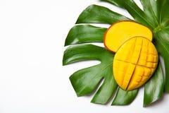 Saftig mango och grönt tropiskt blad som isoleras på den vita bästa sikten arkivbild