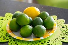 Saftig mogen citrus på plattan - limefrukt och citron Royaltyfri Fotografi