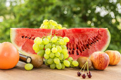 Saftig mogen röd vattenmelon Fotografering för Bildbyråer