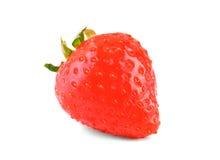Saftig, ny ljus röd och söt jordgubbe med sidor, på den vita bakgrunden Ett moget och perfekt en jordgubbe Royaltyfri Fotografi