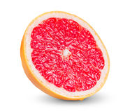 Saftig skiva för ny grapefrukt som isoleras på vit Arkivfoto