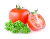 Saftig tomat klippt in hälft och en sprig av parsley Royaltyfri Bild