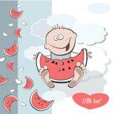 Saftig vattenmelon för lycklig födelsedag stock illustrationer