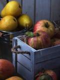 Saftiga frukter i träask för gammal vit tappning Röda äpplen och gula päron Lågt nyckel- måneljus 06 Arkivbilder