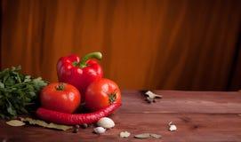 Saftiga grönsaker och kryddor på en wood tabell Royaltyfria Bilder