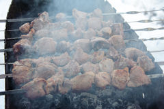 Saftiga grillade kebaber på BBQEN Arkivbilder