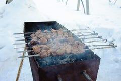 Saftiga grillade kebaber på BBQEN Fotografering för Bildbyråer