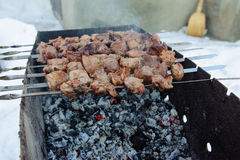 Saftiga grillade kebaber på BBQEN Royaltyfria Foton