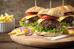 Saftiga hamburgare Fotografering för Bildbyråer