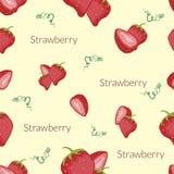 Saftiga jordgubbar i tappningstil, handgjord stil, tecknad filmstil med typografi royaltyfria bilder