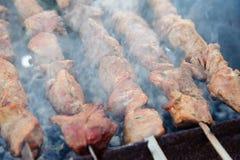 Saftiga kebaber på gallret Royaltyfri Fotografi