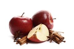 Saftiga mogna äpplen med kanel- och stjärnaanis som isoleras på vit bakgrund royaltyfri bild