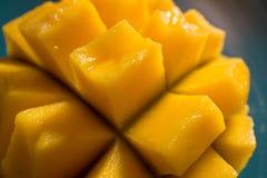 Saftiga och färgrika mangoskivor i naturligt ljus arkivbilder