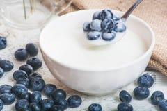 Saftiga och nya blåbär på skeden med yoghurt arkivfoton