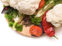 Saftiga och nya snittgrönsaker En uppsättning av grönsaker för framställning av s Fotografering för Bildbyråer