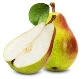 Saftiga päron som isoleras på den vita bakgrunden Arkivbilder