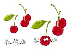Saftiga röda körsbärfrukter för tecknad film Arkivfoton