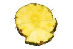 Saftiga skivor för ananas som isoleras på vit bakgrund Fotografering för Bildbyråer