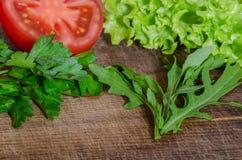 Saftiga tomater med gräsplan-material Arkivbild
