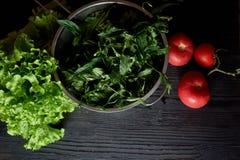 Saftiga tomater och gräsplaner Enkel och sund mat från trädgården organics Royaltyfria Foton