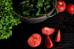 Saftiga tomater och gräsplaner Enkel och sund mat från trädgården organics Arkivbilder