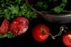 Saftiga tomater och gräsplaner Enkel och sund mat från trädgården organics Royaltyfria Bilder