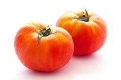 2 saftiga tomater som isoleras på vit bakgrund Arkivbild