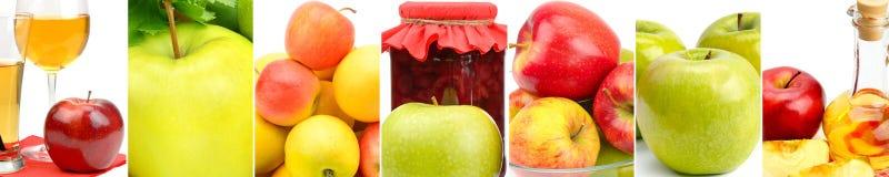 Saftige Äpfel, Saft, Stauapfelweinessig lokalisiert auf weißem b Stockbilder