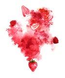 Saftige Beeren und rotes Spritzen auf weißem Hintergrund Handgemalte Aquarellillustration Lizenzfreie Stockfotografie