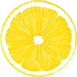 Saftige gelbe Scheibe der Zitrone lokalisiert auf einem weißen Hintergrund mit Beschneidungspfad Stockfoto