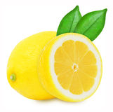 Saftige gelbe Zitronen auf einem weißen Hintergrund lokalisiert Stockfotografie