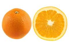 Saftige orange Frucht und Querschnitt Stockfoto