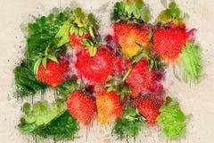 Saftige reife Erdbeere auf grünen Blättern Acryltinte Stockbild