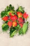Saftige reife Erdbeere auf grünen Blättern Acryltinte Lizenzfreies Stockfoto