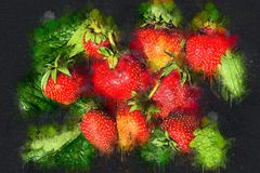 Saftige reife Erdbeere auf grünen Blättern Acryltinte Stockfotos