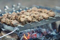 Saftige Scheiben des Fleisches bereiten sich auf Feuer vor lizenzfreie stockfotos