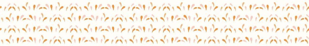 Saftige Tropfen der orange Zitrusfrucht spritzt Handgezogene nahtlose Vektor-Grenzillustration vektor abbildung